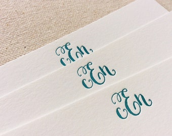 Letterpress Monogram Personalized Stationery, Set of 50 or more, note cards, paper, anniversary, thank you, wedding gift, bridesmaid S122