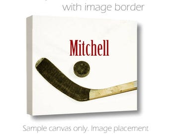 Custom Hockey Canvas-Ice Hockey Print with Name-Personalized Wall Art-Name Art-Sports Wall Decor-Fine Art Canvas Print-Boys Room Wall Art