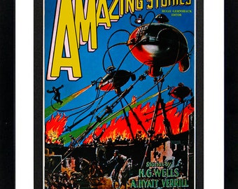 War of the Worlds Amazing Stories Cover Poster Custom Framed A+ Quality
