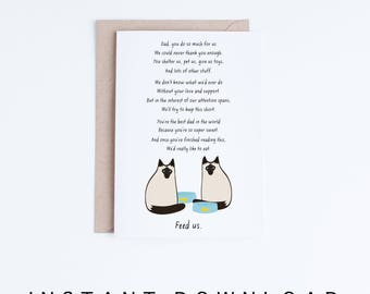 Funny Fathers Day Card Print, Cat Fathers Day Card Instant Download, Printable Father's Day Cards from the Cats, Two Siamese Cats Card