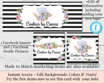 Baking Facebook Set, Customizable Facebook, DIY Facebook, Editable Facebook Set, Instant Download Template, DIY Business Set, Baking