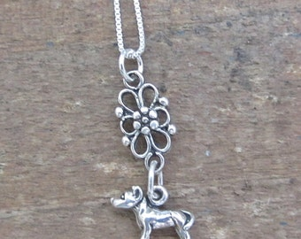 Pit Bull Mini Filigree Sterling Silver Necklace, Pitbull, Pittie, Pit, APBT, Bully, Dog Jewelry
