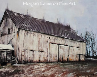 Barn Painting- Oil on Canvas- Farm Art- Decaying Barn- Farm- Winter- Withering- Barn Yard- Building- Old Building- Rusty- Time