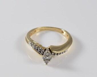 Vintage 10k Yellow Gold Diamond Ring Size 5 1/2