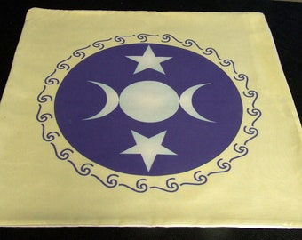 Altar Cloth or Tarot Cloth - Triple Moon Goddess Altar Cloth, off-white - Wicca or Pagan