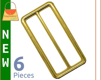 "2 Inch Slide for Straps / Webbing, Shiny Brass Finish, 6 Pieces, Handbag Purse Bag Making Hardware Supplies, 2"", SLD-AA100"