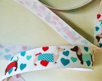 Dachshund and hearts grosgrain ribbon