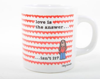 Love is the Answer Isn't it, Cathy, Mug, Vintage, White, Ceramic, Coffee, Tea, Drinking Cup, Red, Hearts, Valentine ~ The Pink Room ~ 161012