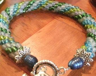 Green Blue Olive Lavender Multi Color Hand Bead Crochet and Pearl Bangle Bracelet