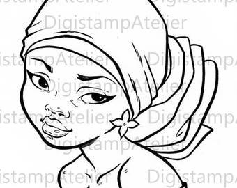 Black headwrap. INSTANT DOWNLOAD Digital Digi Stamps