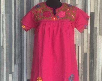 Red Strapless Dress ~ Chiapas Dress ~ Huipil ~ Mexican Dress ~ Enthic ~ Boho Dress ~ Hippie Dress ~ Floral Dress ~ Vintage Style~Womens Gift
