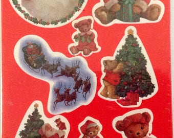 Forget Me Not Holiday Stickers Santa and Bears American Greetings 4 Sheets NIP