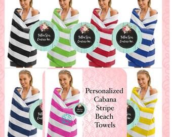 Monogrammed CABANA STRIPE Beach towels , personalized beach towels , bridesmaid beach towels , kids beach towels , summer camp towels