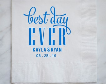 Personalized Best Day Ever Party Napkins, Custom Printed Party Napkins, Wedding Shower Napkins, Personalized Napkins, Party Decor