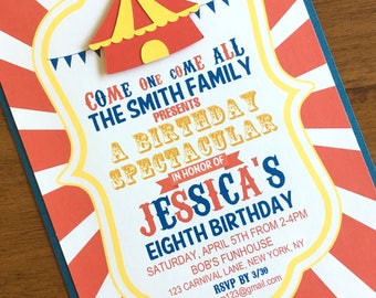 Circus Party Invitation w/envelope