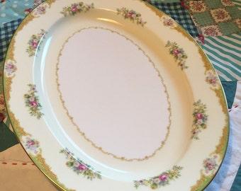 Vintage Large Serving Platter Pink and Blue Floral Noritake Made in Japan