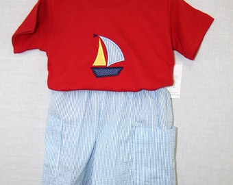 291701- Toddler Boy Clothing - Baby Clothes - Boys Short Set - Baby Boy Nautical - Baby Sailor Outfit - Kids Clothes - Childrens Clothes