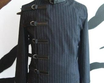 Pinstripe Buckle Jacket Goth gothic punk cyber industrial clubwear steampunk sci-fi costume menswear fetishwear