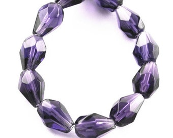 14 Inch Strand Of Transparent Teardrop Faceted Glass Beads 8x6mm (42 beads)-8315