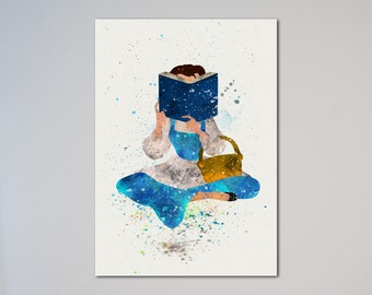 Belle Beauty and the Beast Watercolor Poster Print Belle reading book