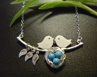 Family Nest Necklace in Sterling Silver, Bird Nest, 3 eggs, 3 leaf initials