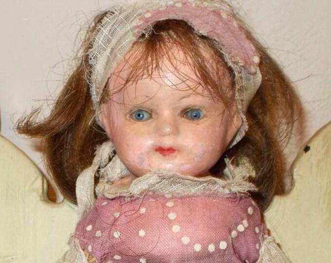 "9"" Antique Primitive Paper Mache Shoulder Head Dollhouse Doll Human Hair Wig Straw Stuffed Body"