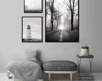 Scandinavian Forest Print, Woodland Forest, Black and White Photo Set, Misty Foggy Forest Printable Download, Lighthouse Nautical Printable