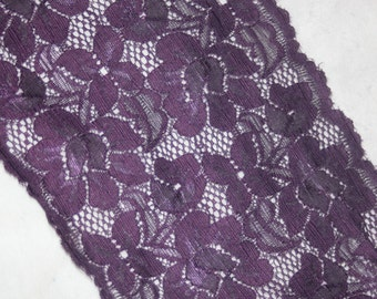 "2 yards Eggplant PURPLE galloon sheer floral stretch lace 6"" wide"