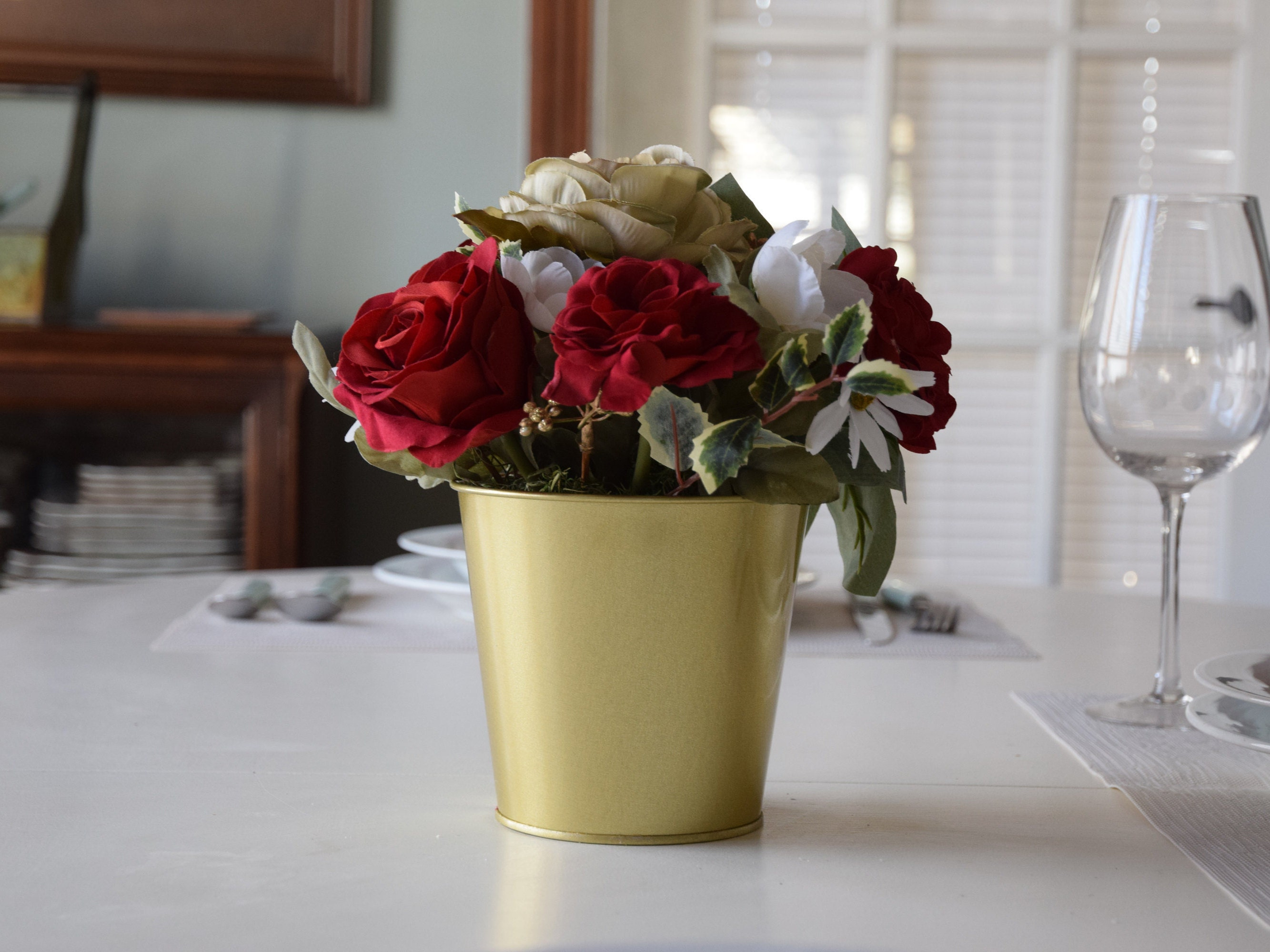 Romantic Red Roses Silk Flower Arrangement Gift