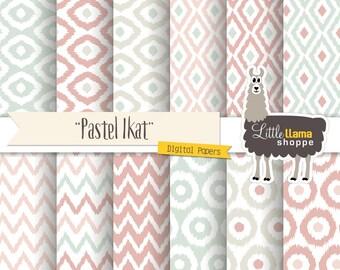 Pastel Ikat Digital Paper, Pastel Ikat Digital Backgrounds, Ikat Scrapbook Paper, Instant Download, Commercial Use