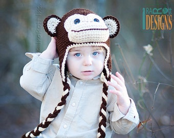 CROCHET PATTERN Chuck the Chimpanzee Monkey Hat Crochet Pattern in PDF
