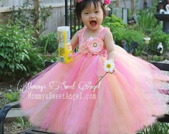 Hot pink, ivory, peach tutu dress. Pageants tutu dress. Flower girl tutu dress. Rainbow dress. Flower girl dress. Birthday tutu