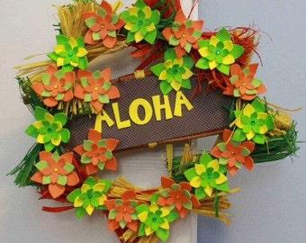 Aloha wreath with colorful flowers