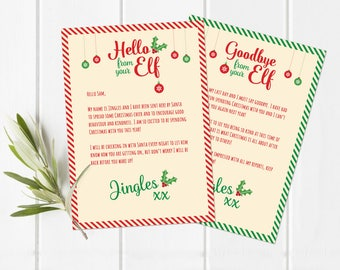 Personalised Elf hello & goodbye letter, size A4 DIY PRINTABLE DOWNLOAD