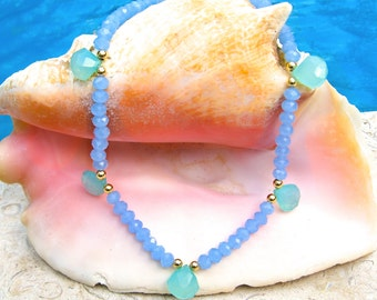 Aqua and Blue Chalcedony Stone Necklace
