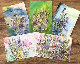 Floral postcard set of 5, planner journaling tip-ins flower leaves small format mixed media stationary ephemera original art card print