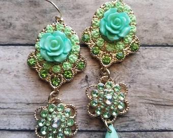 Fancy Green Flower Earrings Dangle Earrings Gifts for Her Statement Earrings Prom Earrings Bridal Earrings Gifts for Bridesmaids Teardrop