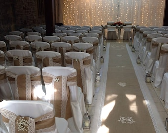 Stunning Hessian and Ivory/Gold lace for 100 wedding decorations ono!
