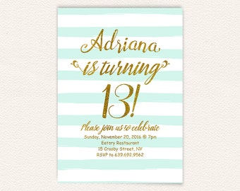 Turquoise stripes, 13th birthday invite, gold glitter invite, 13th birthday, birthday invitation, birthday party, teen birthday 44