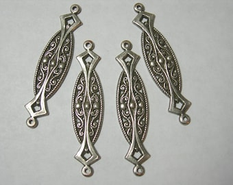 Silver Plated Victorian Earring Drops Findings Connectors Stapmings 4