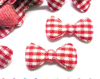 """100pcs x 7/8"""" Gingham Cotton Bow Padded/Appliques"""