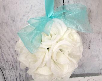 Turquoise kissing ball, Wedding pomander, Wedding decoration, Silk wedding flowers, Wedding decor, Pomander centerpeice