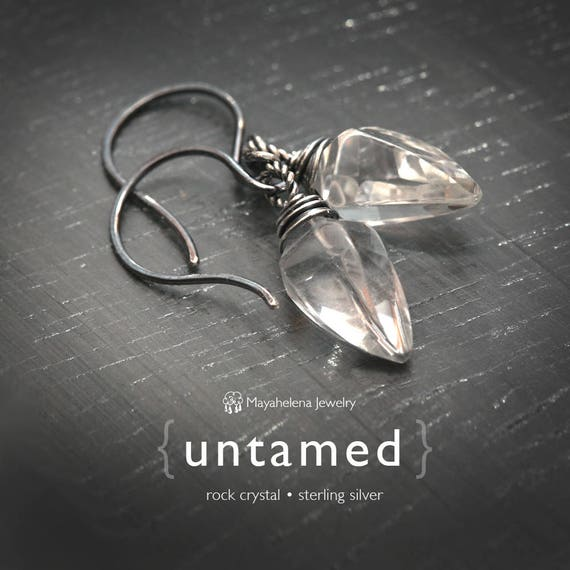 Untamed  - Rock Crystal Claw Drop Sterling Silver Earrings