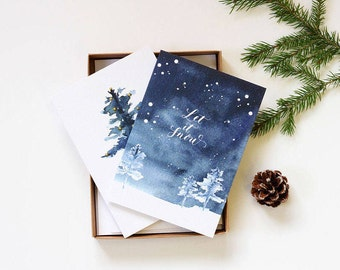 Christmas cards. Christmas card set. Christmas card. Holiday cards. Greetings cards. Calligraphy christmas cards. Boxed holiday cards.