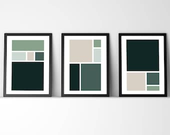 Set of 3 Digital Wall Art /Green & Neutral / Abstract / Square Composition