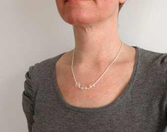 Sparkly necklace minimalist chain necklace clear beads necklace for women