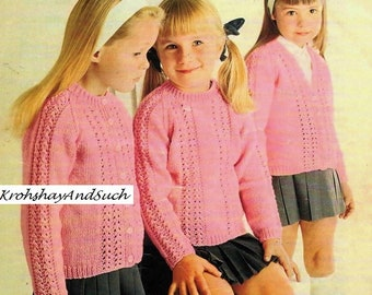 Girls Cardigan And Sweater, Knitting Pattern. PDF Instant Download.