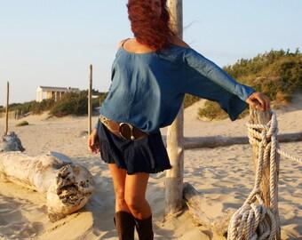 Beach Dress, Tie Dye, Beach Cover Up, Flared Sleeves, Long Sleeves, Beachwear, Tunic Dress, Hippie, Boho, Gypsy, Ibiza Style, One Size