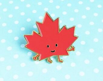 Maple Leaf Enamel Pin - red toronto ontario canada cute cartoon souvenir lapel
