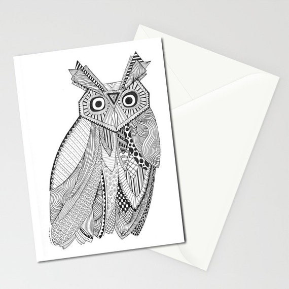 Owl greeting cards set of three folded cards m4hsunfo